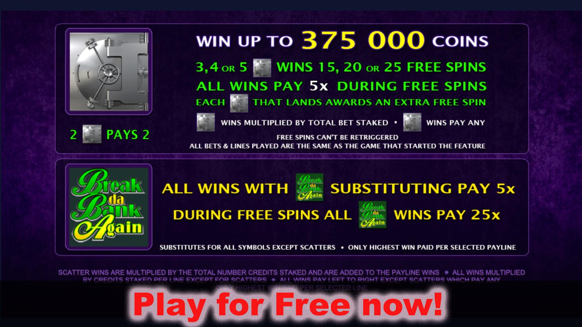 Break da Bank Again Video Slot – Free Online Casino Game