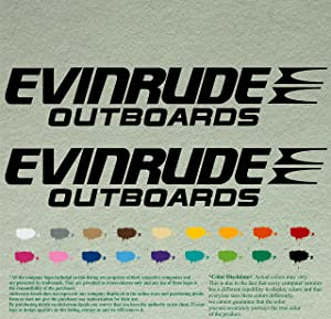 Pair of Evinrude Outboards Decals Vinyl Stickers Boat Outboard Motor Lot of 2 (12 inch, Black 070)