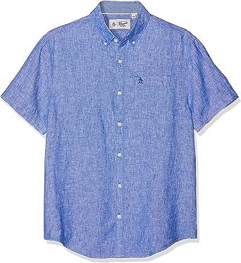 ORIGINAL PENGUIN Linen Camisa Casual, Azul (Surf The Web), L para Hombre: Amazon.es: Ropa y accesorios
