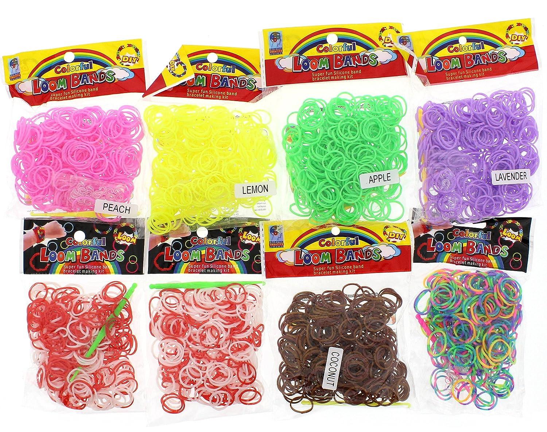 8 Loom Bands Starter Set Bandz colorful 600 Gummibänder Webrahmen Bänder Haken
