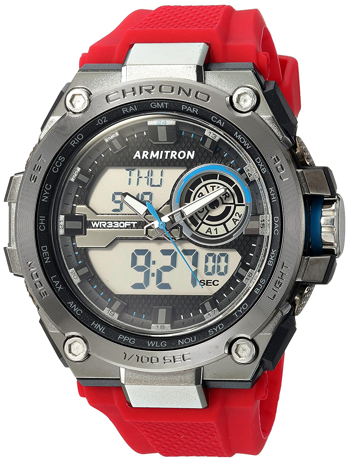 Buy armitron sport mens 205242red blue accented analog digital buy armitron sport mens 205242red blue accented analog digital chronograph red silicone strap watch online at low prices in india amazon fandeluxe Gallery
