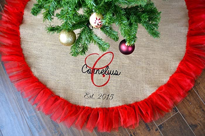 christmas tree skirt natural burlap and red tulle personalized handpainted est date monogram