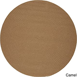 product image for Rhody Rug Madeira Indoor/Outdoor Braided Rug Camel 6' Round Synthetic, Polypropylene Antimicrobial, Stain Resistant 6' Round Outdoor, Indoor Round