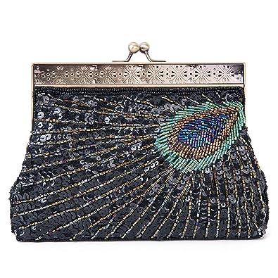 f0da2e02953 KISSCHIC Vintage Beaded Sequin Peacock Clutch Purse Evening Bags (Black)