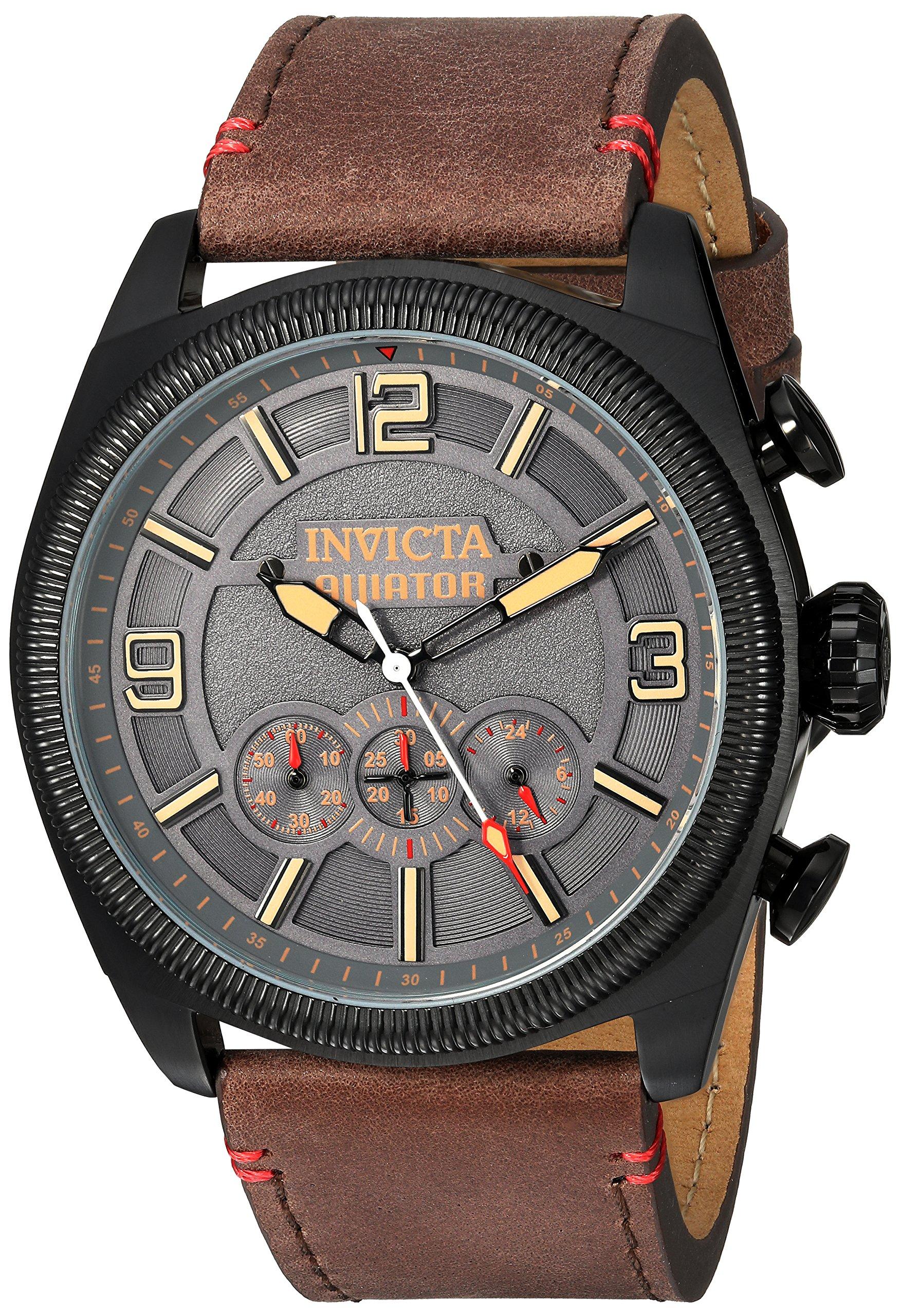 ویکالا · خرید  اصل اورجینال · خرید از آمازون · Invicta Men's 'Aviator' Quartz Stainless Steel and Leather Casual Watch, Color:Brown (Model: 22988) wekala · ویکالا