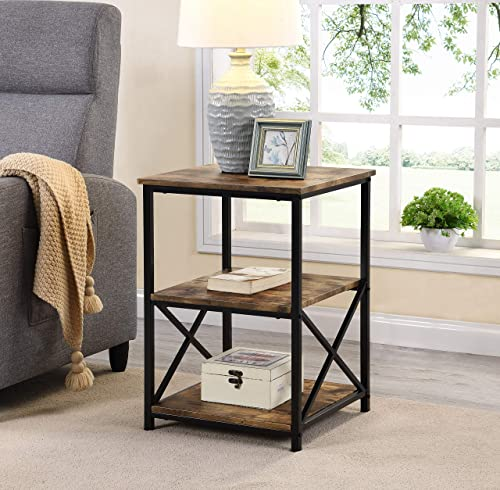 Rustic Nutmeg Brown Finish Metal X-Design Chair Side End Table