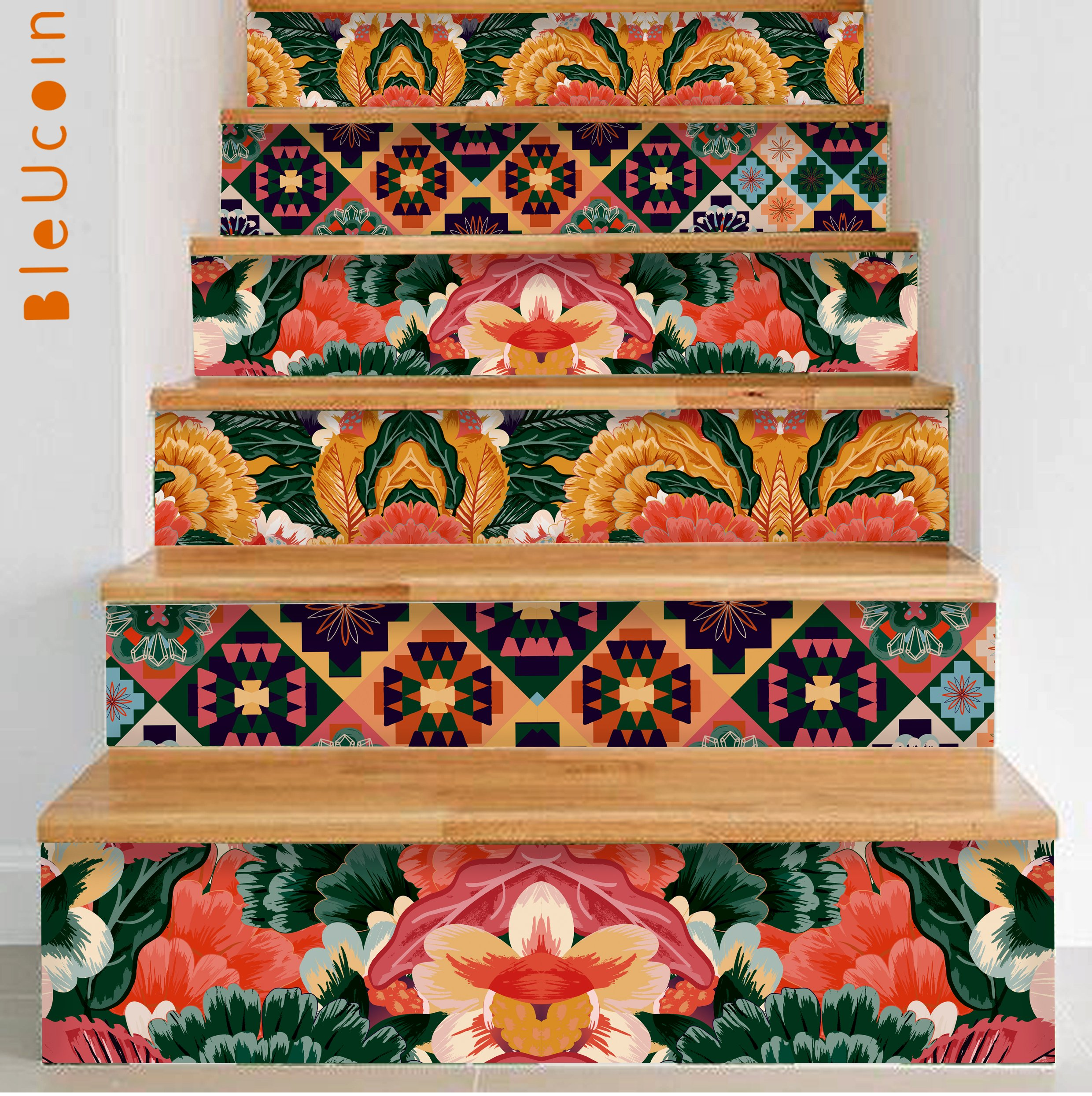 Bleucoin Stair Riser Decal Strips : Tropical Interior Trend - Pack of 10 Strips with 124cm Length (8'' x 49'' (Pack of 10 Strips))