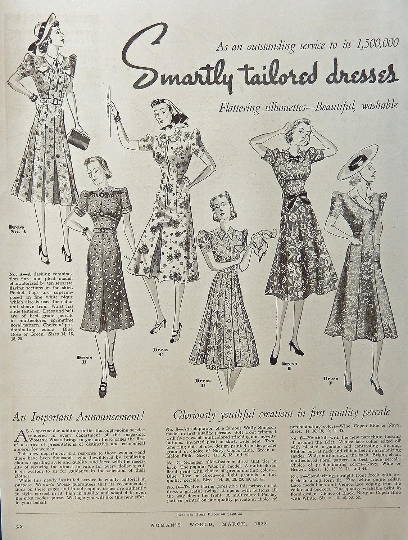 1935 Womems Fashions, 30's Full Page B&W Illustration,print art. Original Rare 1938 Woman's World Magazine Art