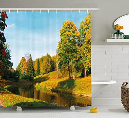 Ambesonne Landscape Shower Curtain Scenery View Natural Forest Park With Trees And River Photo Image