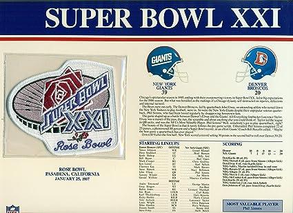 pretty nice 35b65 344a0 Super Bowl XXI 21 Official Patch New York Giants vs Denver ...