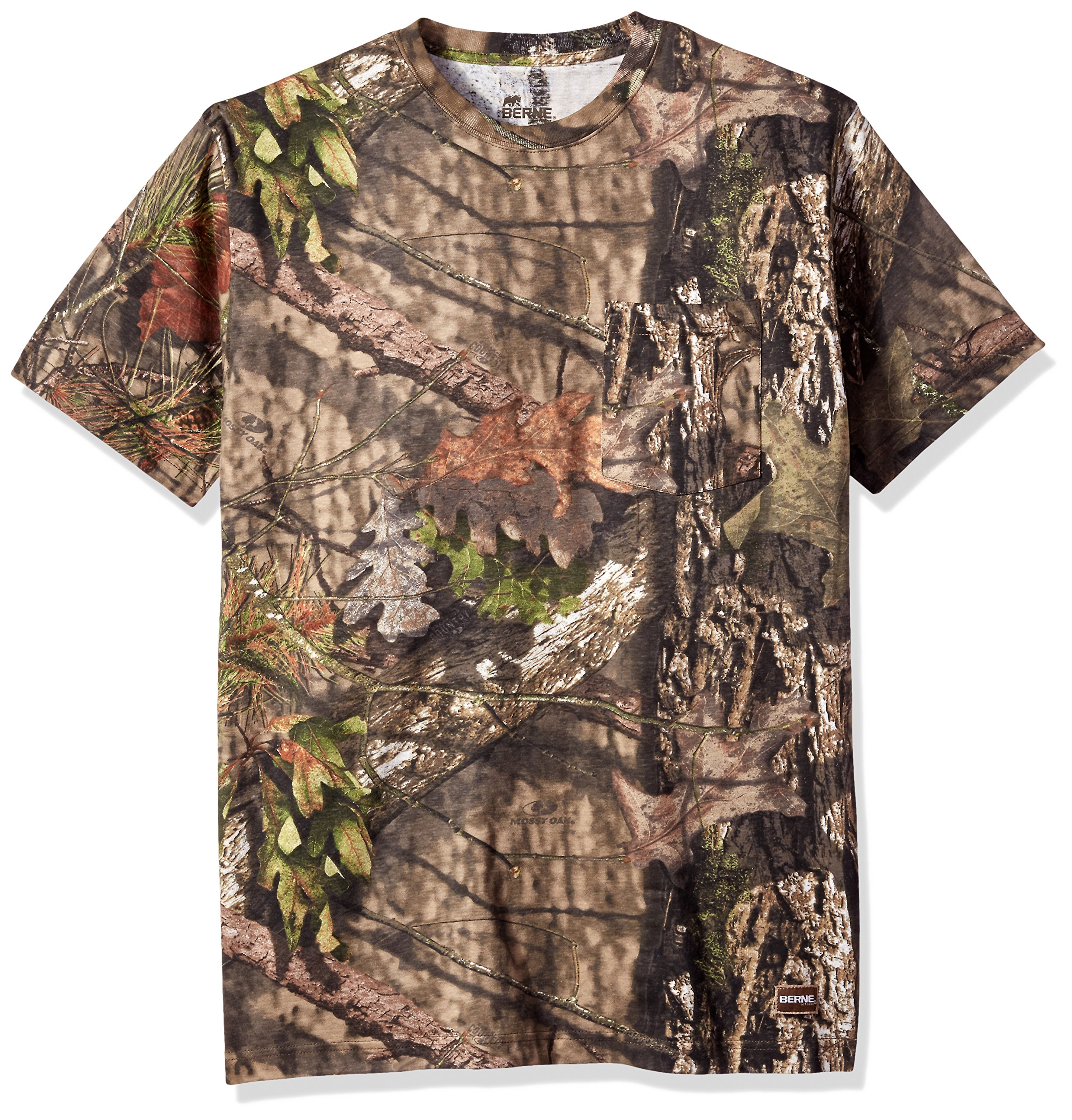 Berne Men's Short Shot Camouflage Pocket Tee Shirt, Country, Large