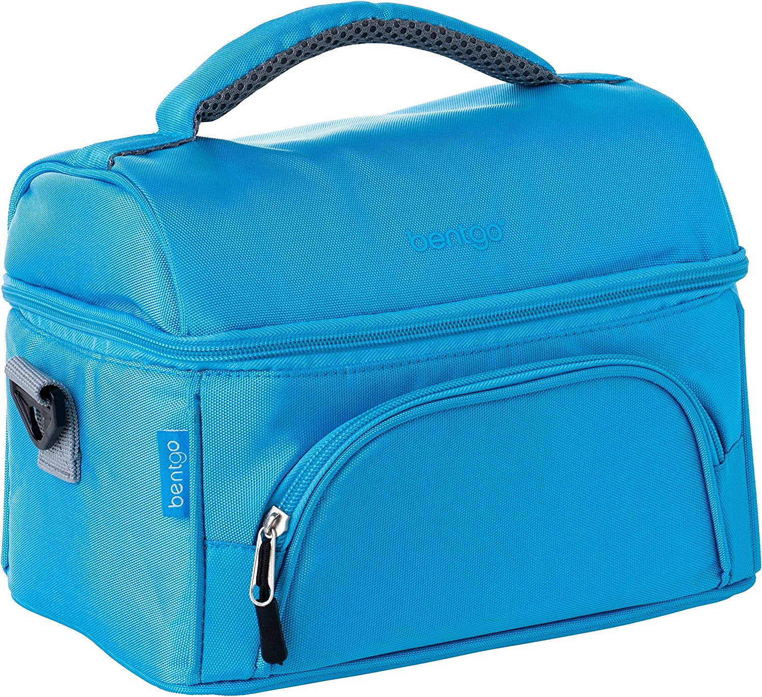 Bentgo Lunch Bag (Blue) - Insulated Lunch Tote for Work and School with Top and Main Compartments, 2-Way Zipper, Adjustable Strap, and Front Pocket - Fits All Bentgo Lunch Boxes and Other Containers