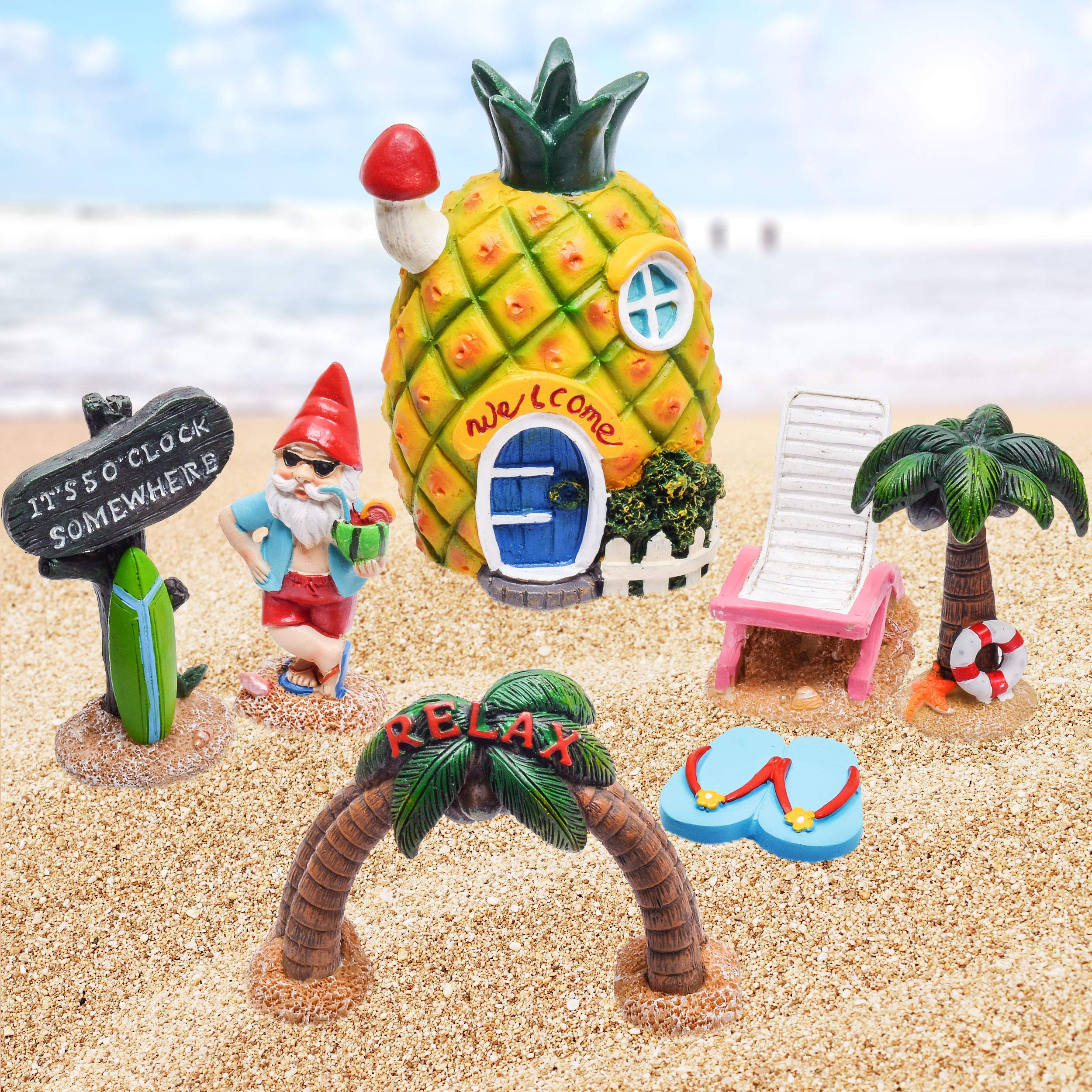 Teresa's Collections 7 Pcs Fairy Garden Accessories Kit-Miniature Pineapple Fairy House Garden Statue Figurines for Outdoor Yard Decorations