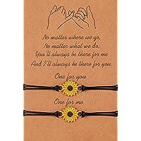 Pinky Pomise Distance Matching Bracelets for Best Friends Couple Family Women Mens Teen Girls Sunflower Boho Bracelet…
