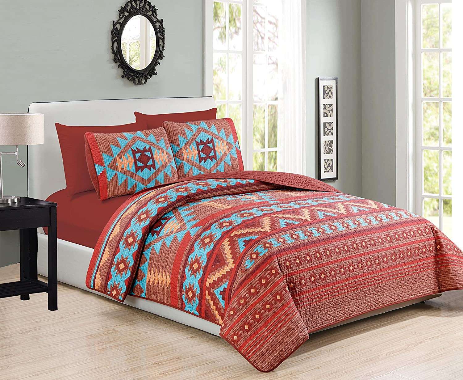 Western Southwestern Native Indian American 6 Piece Bedding Quilt Bedspread And Fitted Sheet Set NO FLAT SHEET In Turquoise Red Orange Brown (6PC King)