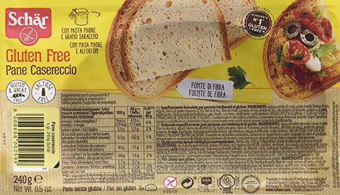 Dr. Schar Pane Casereccio Pan - 240 gr - [Pack de 5]: Amazon ...