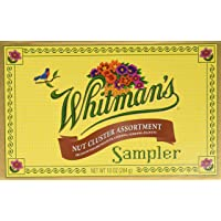 Whitman's Sampler Nut Cluster Assortment, 10 Ounce Box, Assortment Nut Cluster Box; An Assortment of Chocolate Covered Nut Clusters; Dark Chocolate Candies and Milk Chocolate Candies