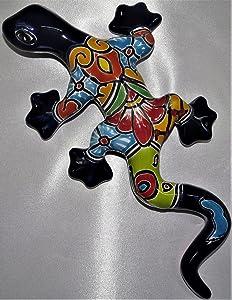 Mexican Talavera Geico Gecko Lizard - 11.5 in - Blue Iguana Multicolor - Mexican Handmade - Individually Unique - Gecko Outdoor Wall Décor - Lizard Party Decorations - Geckos Décor