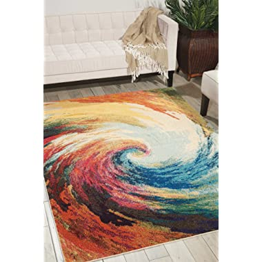 Nourison Celestial Modern Bohemian Wave Multicolored Area Rug 5 Feet 3 Inches by 7 feet 3 Inches, 5'3  x 7'3