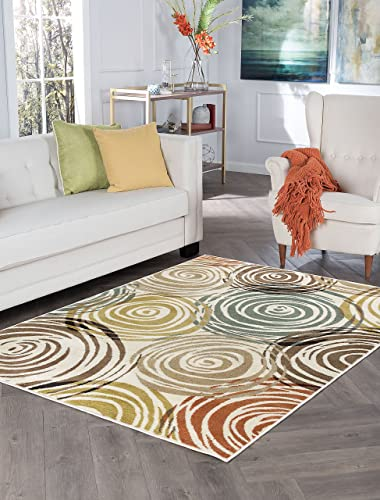 Joelle Contemporary Abstract Ivory Rectangle Area Rug, 8 x 10