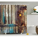Ambesonne Rustic Shower Curtain by, Aged Shed Door Backdrop with Color Details Country Living Exterior Pastoral Mansion Image, Fabric Bathroom Decor Set with Hooks, 70 Inches, Brown