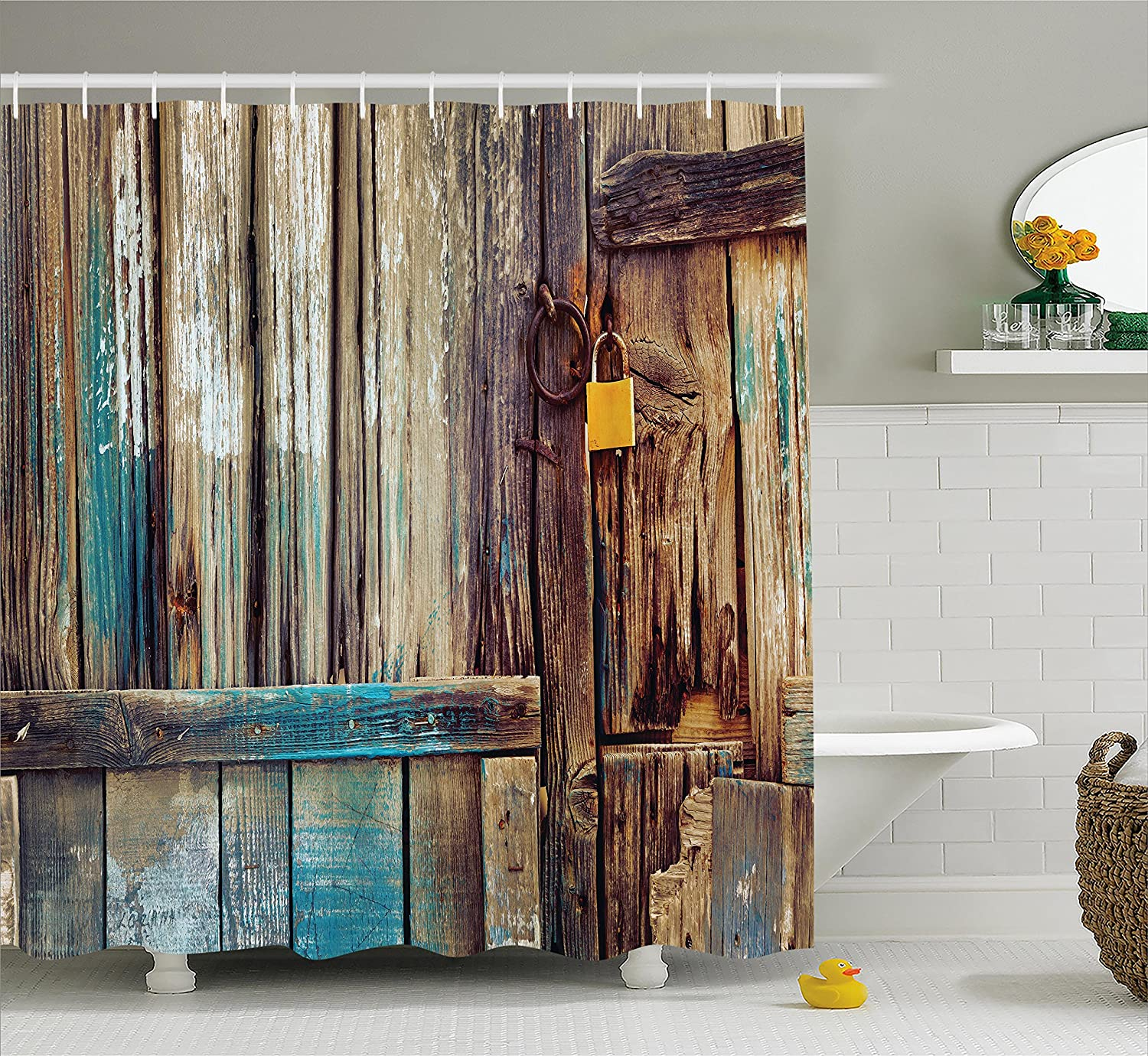 Rustic shower curtain aged shed door backdrop bath country for Country living bathroom accessories