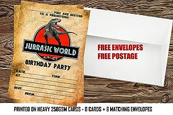 Design Buddies Boys Jurassic World Dinosaurs Birthday Party Invitations X8 Envelopes 24
