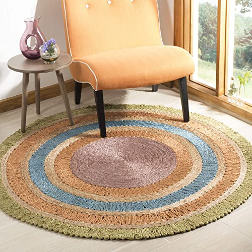 Safavieh Natural Fiber Collection NF201D Hand-woven Jute Area Rug, 7 x 7 Round, Green Multi