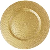 Charge it by Jay Round Spiral Glass Gold Charger Plate