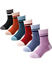 6 Pairs Children's Wool Socks For Boy Girl Kid Thick Warm Thermal Cotton Winter Crew Socks