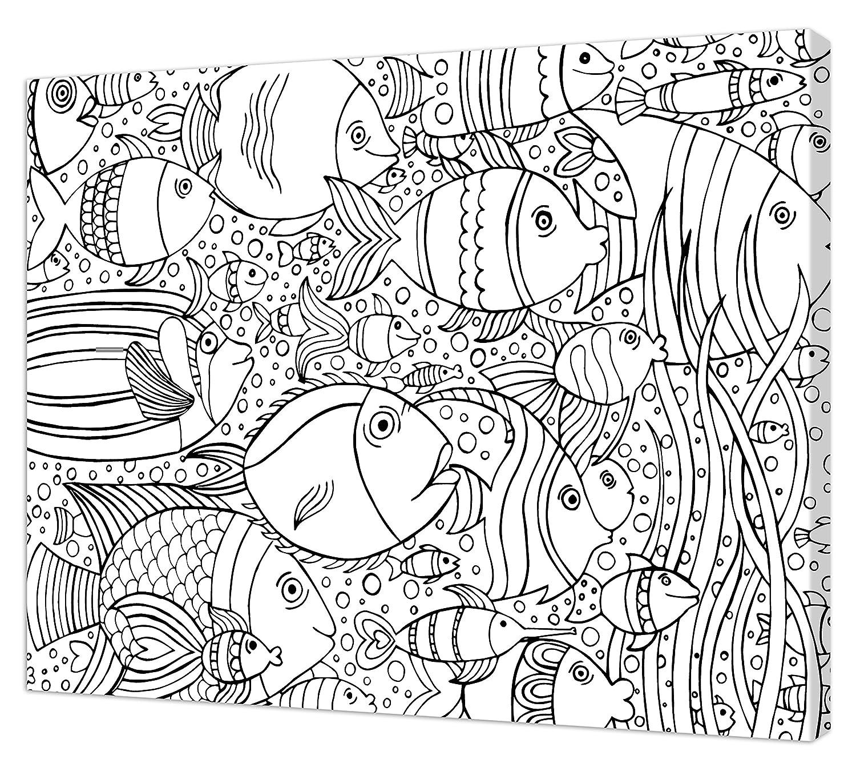 Pintcolor 7171.0 Telaio con Tela Stampata da Colorare, Legno di Abete/Cotone, Bianco/Nero, 50x40x3.5 cm Adria Art AA160