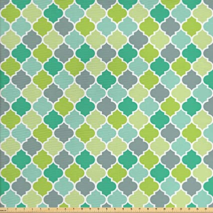 amazon com ambesonne teal fabric by the yard traditional moroccan