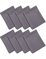 Wisdompro 8 Pack Microfiber Cleaning Cloth for Camera Lens, Glass, Lenses, Phone, iPhone, iPad, Tablet, Laptop, LCD TV, Computer Screen, Monitor and Other Delicate Surface - Grey (6 x 7 inch)