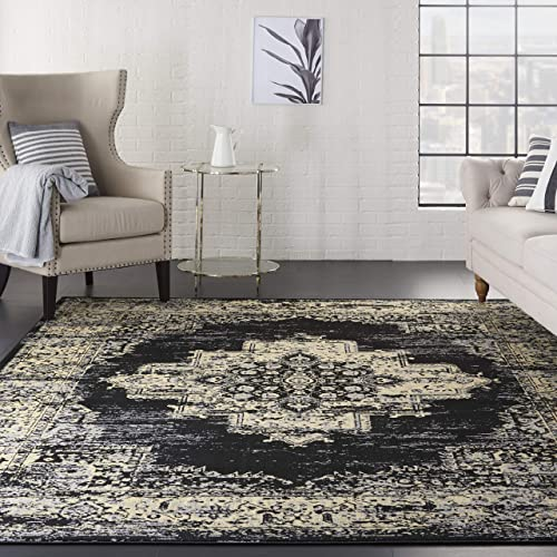 Nourison Grafix Modern Contemporary Area Rug, 7 10 X9 10 , BLACK