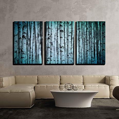 Amazon.com: wall26 - 3 Piece Canvas Wall Art - Trunks of Birch Trees ...