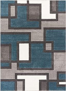 Echo Formes et Cercles Bleu et Marron moderne Géométrique Comfy ...