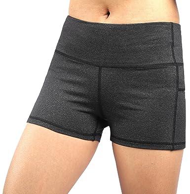 Short Femme de Sport Noir Yoga Fitness Capri Boy Shorts Capri Sports et  Loisirs Gris  9b8ab59e44f