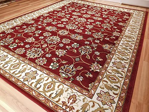 Persian Red Rugs All Over Tabriz Design 5 by 7 Traditional Area Rugs 5×8 Red Rugs Large Rugs For Living Room Cheap, 5×8 Rug
