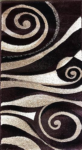 Sculpture Modern Door Mat Contemporary Area Rug Burgundy Black Beige Abstract Design 258 2 Feet X 3 Feet 4 Inch