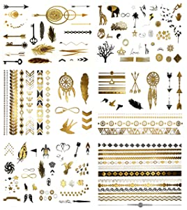 Terra Tattoos Small Temporary Tattoos - 125 Black Gold Tattoos