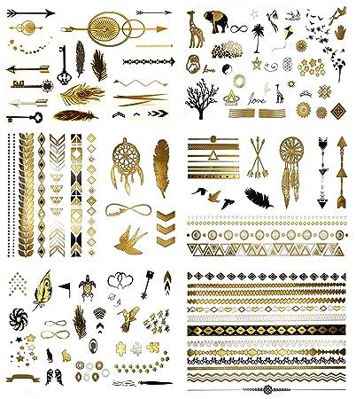 38e3f04ee Amazon.com : Minimalist Gold Metallic Temporary Tattoos - Over 125 Tattoo  Designs Gold Black Silver (6 Sheets) Terra Tattoos Addison Collection :  Beauty