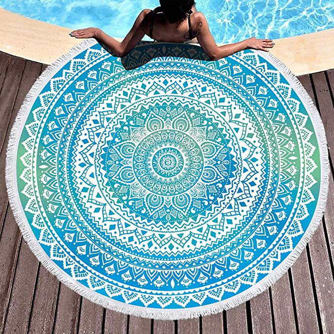 "Bonsai Tree Mandala Round Beach Towel, Indian Hippie Boho Extra Large Sand Proof Beach Blanket, Circle Meditation Yoga Mat with Tassels 59"" best beach towel"