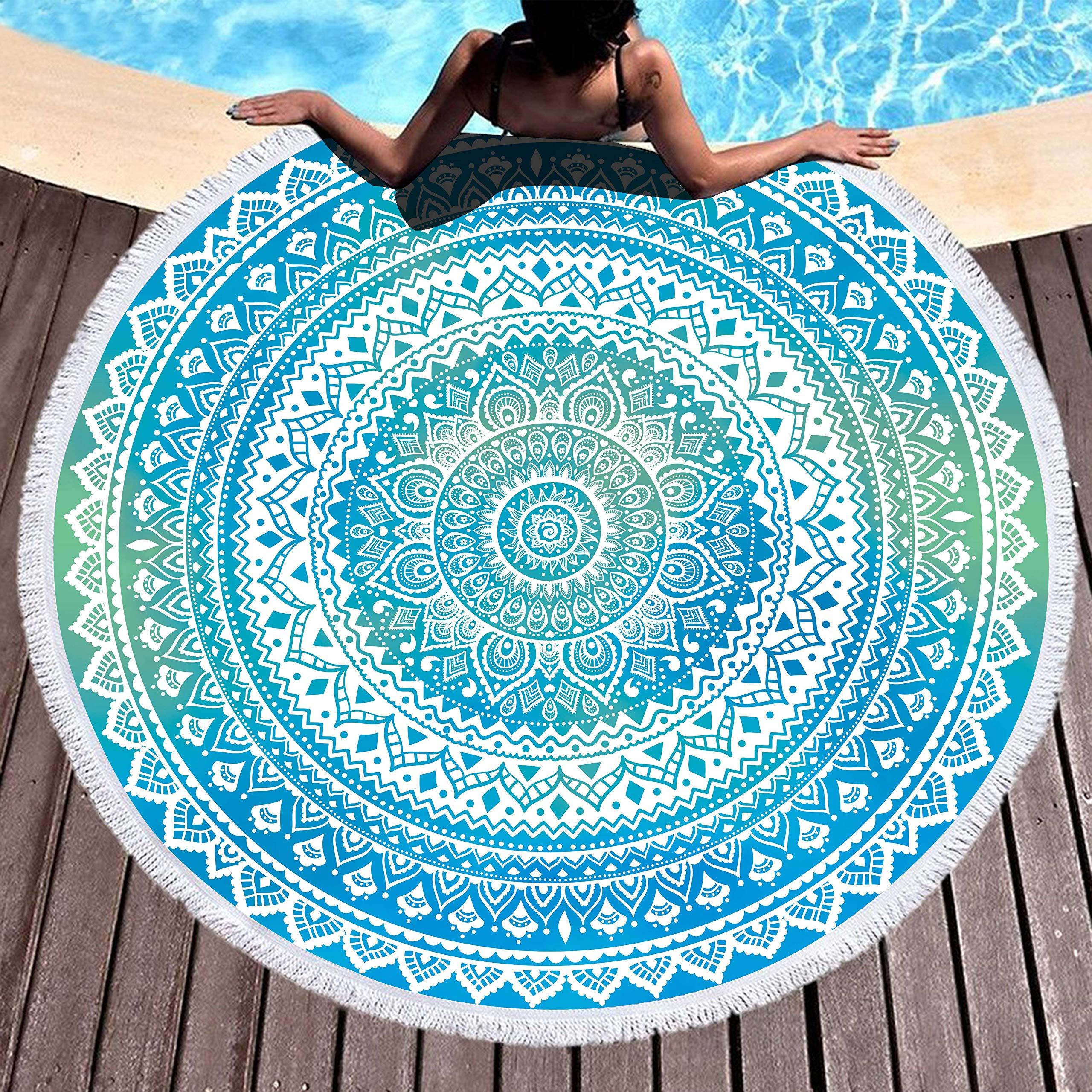 Bonsai Tree Mandala Round Beach Towel, Indian Hippie Boho Extra Large Sand Proof Beach Blanket, Circle Meditation Yoga Mat with Tassels 59''