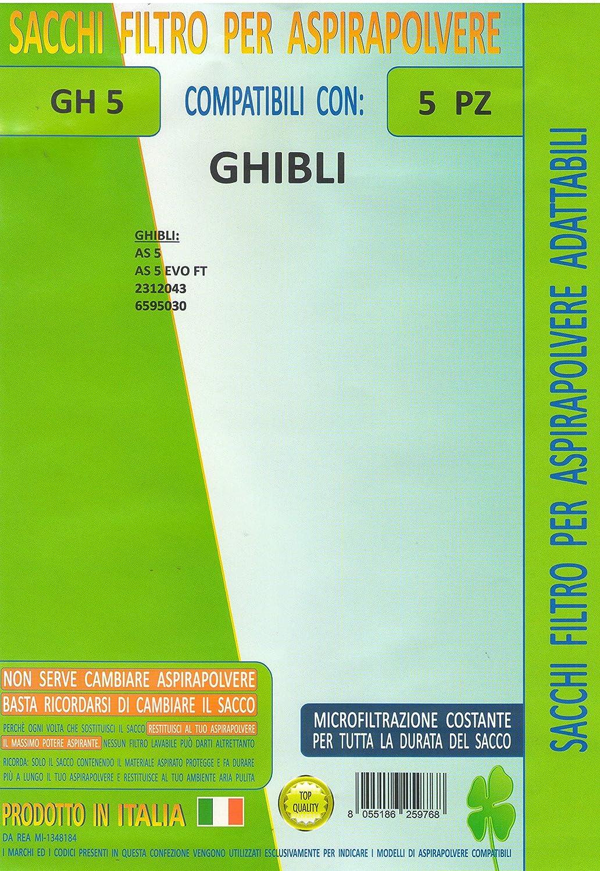 Acquisto MF GH5 Confezione 5 Pezzi Sacchetto di Ricambio Compatibile per aspirapolvere Marca Ghibli AS5, AS 5 Evo FT, 2312043, 6595030 Prezzo offerta