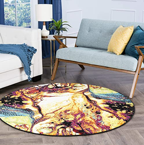 Soleil Contemporary Abstract Multi Round Area Rug