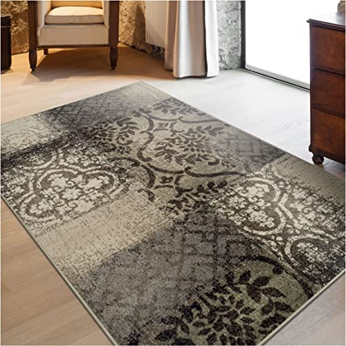Superior Bristol Collection Area Rug, 8mm Pile Height with Jute Backing, Chic Geometric Damask Patchwork Design, Fashionable and Affordable Woven Rugs – 8 x 10 Rug, Beige Brown