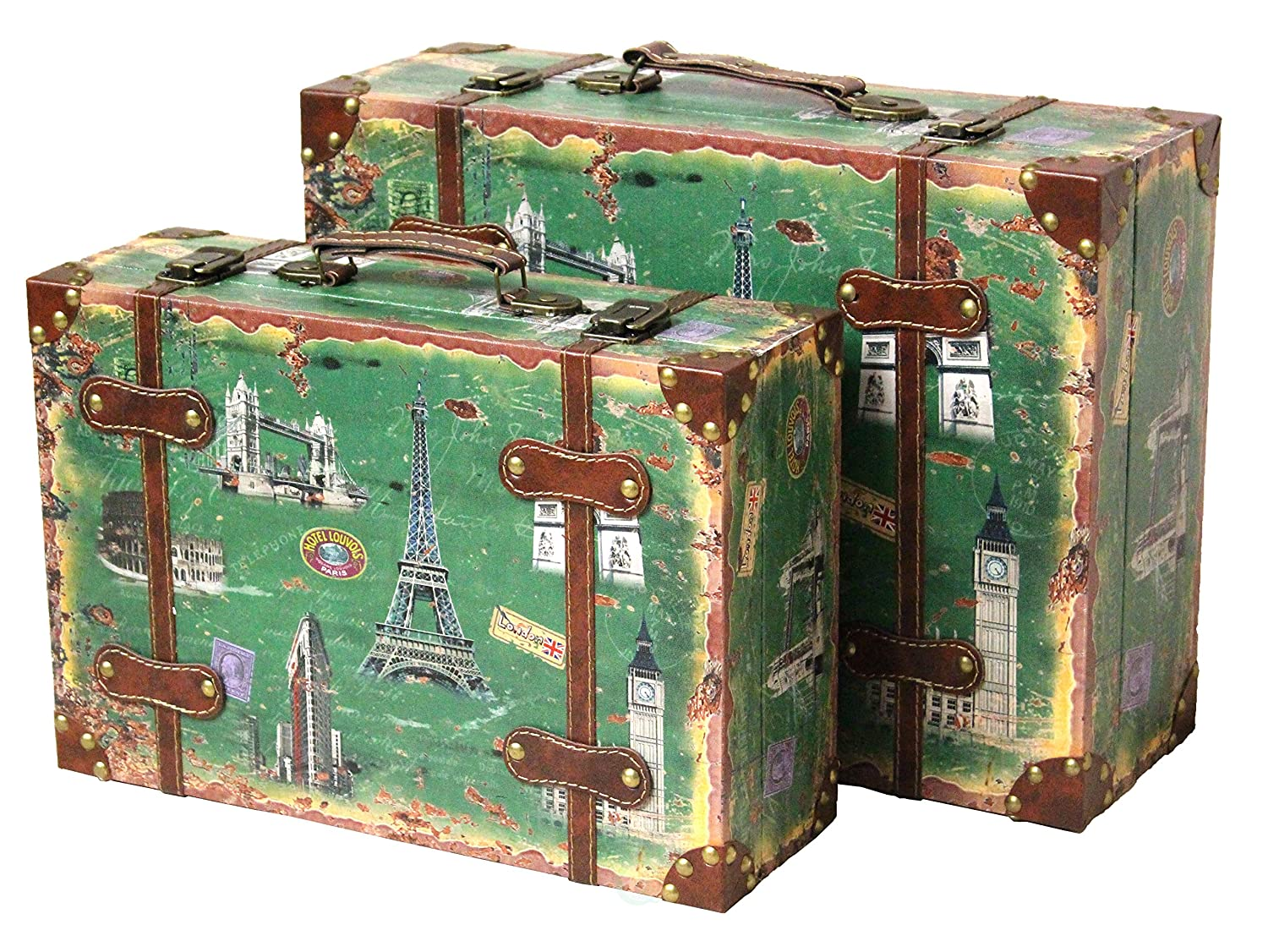 Amazon.com: Vintiquewise(TM) Vintage Style European Luggage Suitcase, Set of 2: Home & Kitchen