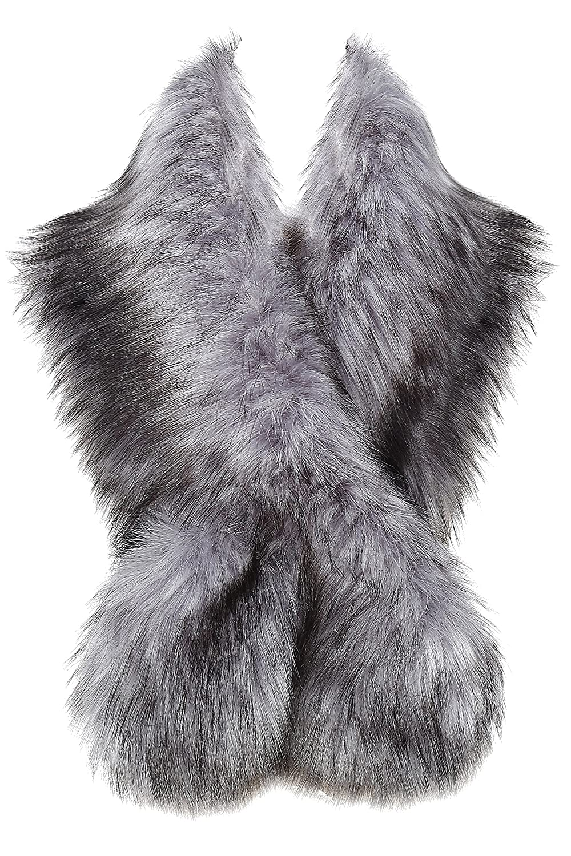 BABEYOND Womens Faux Fur Collar Shawl Faux Fur Scarf Wrap Evening Cape Winter Coat 47.2 (Black)