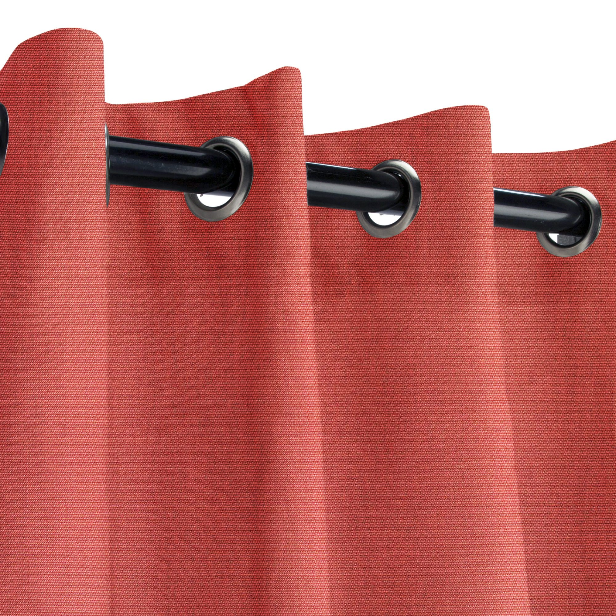 Sunbrella Canvas Henna Outdoor Curtain with Nickel Grommets 50 in. Wide x 84 in. Long