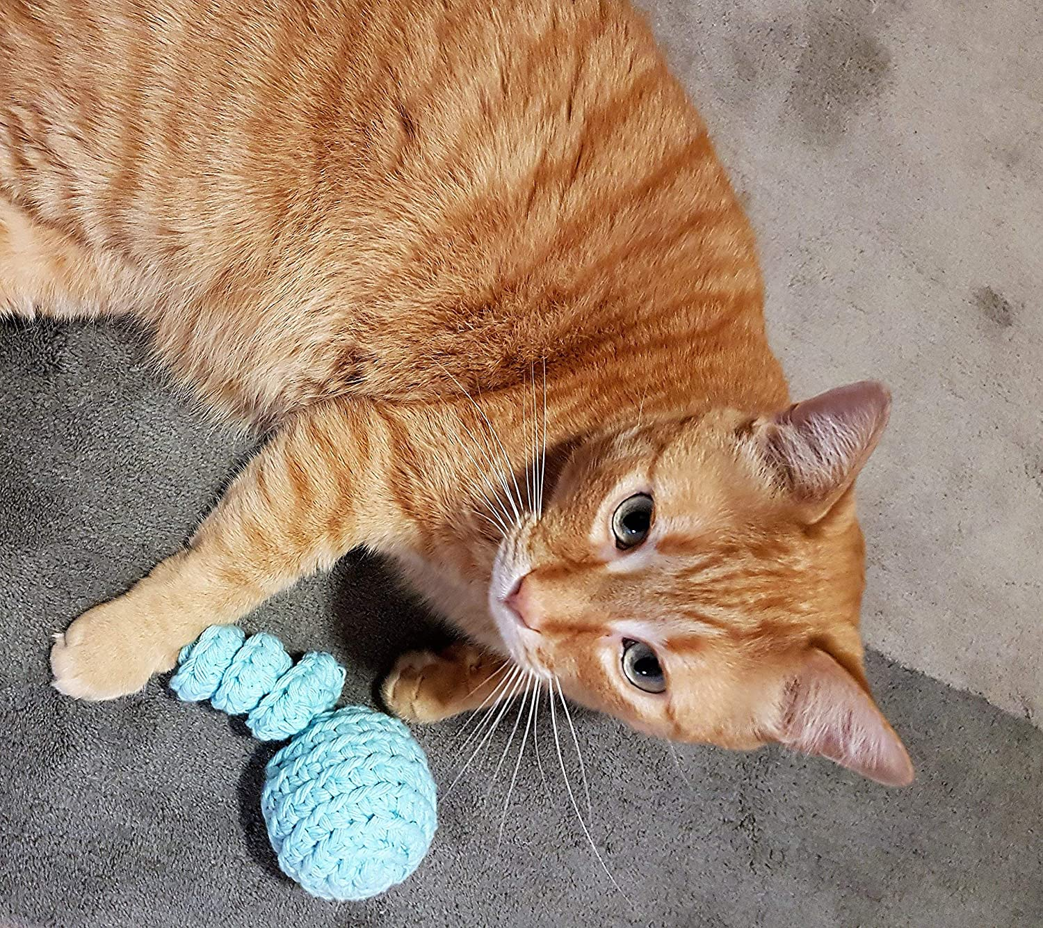 100/% Cotton Cat Toy Ball with Spiral Tail